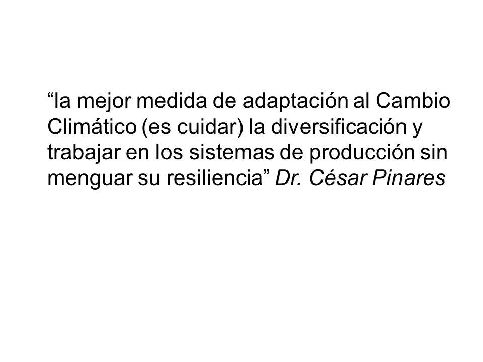 la mejor medida de adaptación al Cambio Climático (es cuidar) la diversificación y trabajar en los sistemas de producción sin menguar su resiliencia Dr.