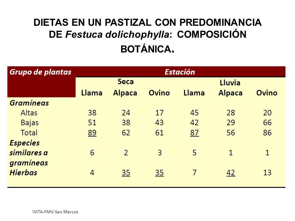 IVITA-FMV-San Marcos DIETAS EN UN PASTIZAL CON PREDOMINANCIA DE Festuca dolichophylla: COMPOSICIÓN BOTÁNICA.