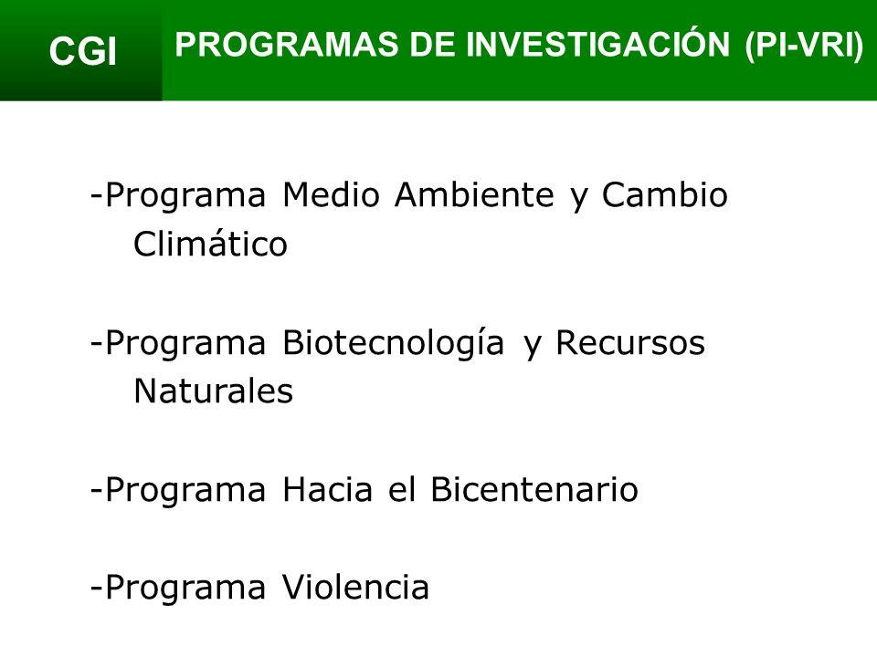 CGI -Programa Medio Ambiente y Cambio Climático -Programa Biotecnología y Recursos Naturales -Programa Hacia el Bicentenario -Programa Violencia PROGRAMAS DE INVESTIGACIÓN (PI-VRI)