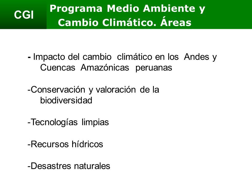 CGI - Impacto del cambio climático en los Andes y Cuencas Amazónicas peruanas -Conservación y valoración de la biodiversidad -Tecnologías limpias -Recursos hídricos -Desastres naturales Programa Medio Ambiente y Cambio Climático.
