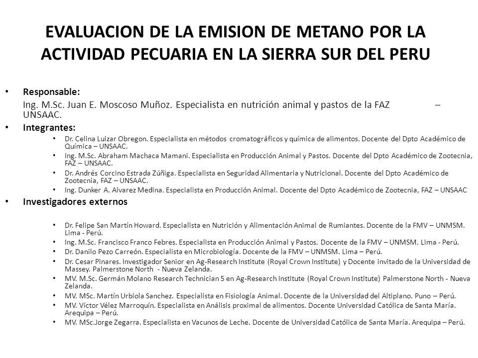 EVALUACION DE LA EMISION DE METANO POR LA ACTIVIDAD PECUARIA EN LA SIERRA SUR DEL PERU Responsable: Ing.