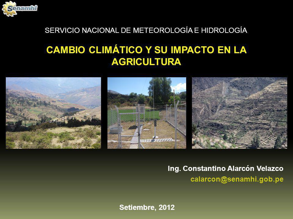 CAMBIO CLIMÁTICO Y SU IMPACTO EN LA AGRICULTURA SERVICIO NACIONAL DE METEOROLOGÍA E HIDROLOGÍA Setiembre, 2012 Ing. Constantino Alarcón Velazco calarc