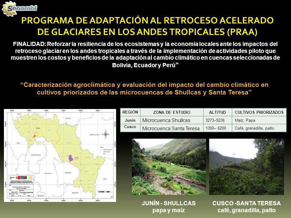 PROGRAMA DE ADAPTACIÓN AL RETROCESO ACELERADO DE GLACIARES EN LOS ANDES TROPICALES (PRAA) Caracterización agroclimática y evaluación del impacto del c