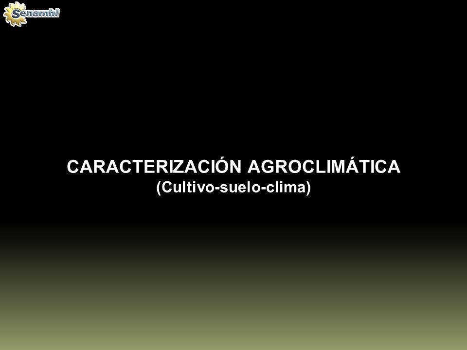CARACTERIZACIÓN AGROCLIMÁTICA (Cultivo-suelo-clima)