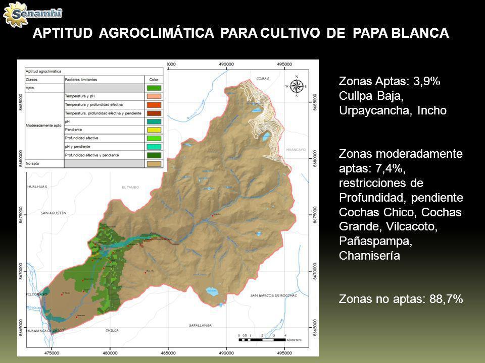 APTITUD AGROCLIMÁTICA PARA CULTIVO DE PAPA BLANCA Zonas Aptas: 3,9% Cullpa Baja, Urpaycancha, Incho Zonas moderadamente aptas: 7,4%, restricciones de