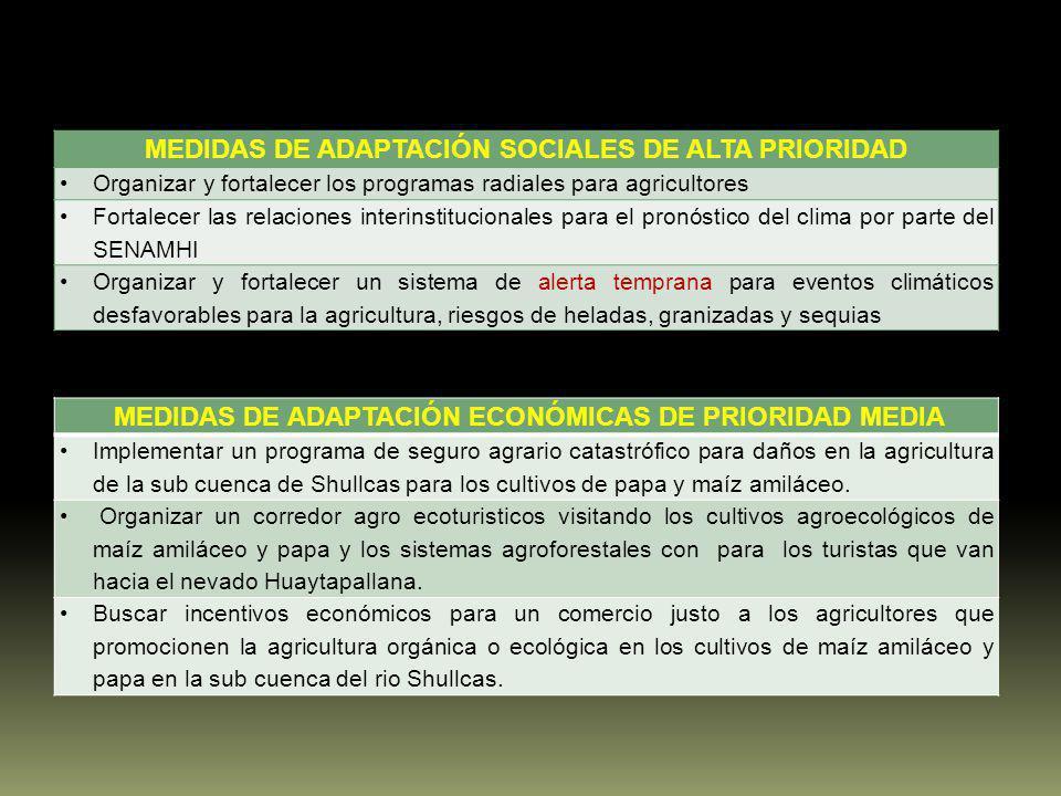 MEDIDAS DE ADAPTACIÓN SOCIALES DE ALTA PRIORIDAD Organizar y fortalecer los programas radiales para agricultores Fortalecer las relaciones interinstit