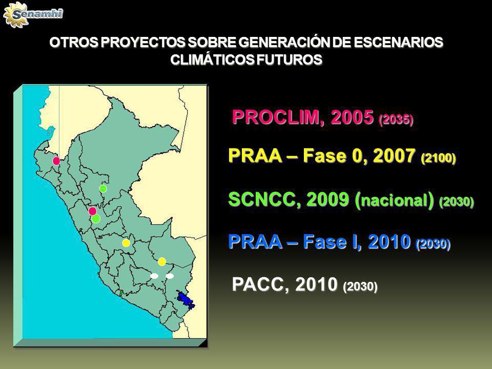 ESCENARIOS DE CAMBIO CLIMÁTICO AL 2030 Distribución espacial del cambio de temperatura máxima, temperatura mínima y precipitación (%) anual al 2030 CCSM/RAMS-SENAMHI-DGM