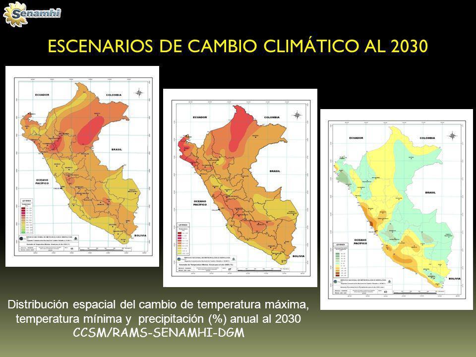 ESCENARIOS DE CAMBIO CLIMÁTICO AL 2030 Distribución espacial del cambio de temperatura máxima, temperatura mínima y precipitación (%) anual al 2030 CC