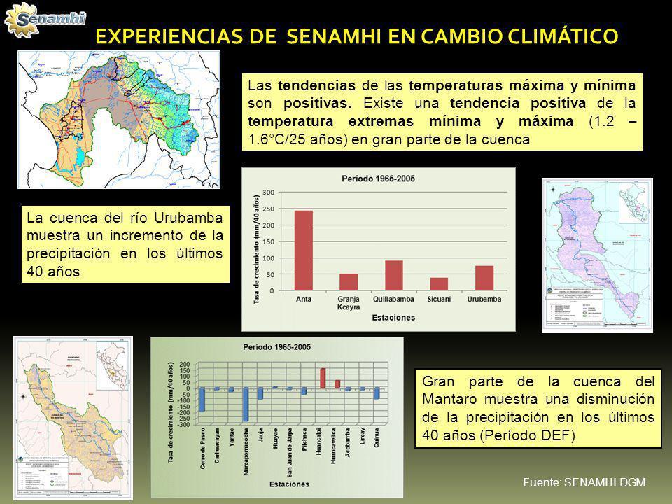 EXPERIENCIAS DE SENAMHI EN CAMBIO CLIMÁTICO Las tendencias de las temperaturas máxima y mínima son positivas. Existe una tendencia positiva de la temp
