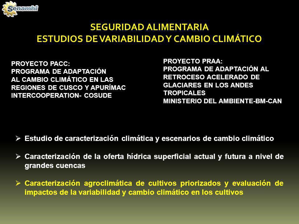 PROGRAMA DE ADAPTACIÓN AL CAMBIO CLIMÁTICO EN LAS REGIONES DE CUSCO Y APURÍMAC (PACC) FINALIDAD: Reducir la vulnerabilidad de estratos sociales de mediana y alta pobreza en las áreas de trabajo del programa, disminuyendo la migración por afectaciones ambientales ocasionadas por el cambio climático Caracterización agroclimática de cultivos priorizados y evaluación de impactos de la variabilidad y cambio climático sobre el desarrollo fenológico de los cultivos y su productividad en Apurímac y cusco REGIÓN ZONA DE ESTUDIOALTITUDCULTIVOS PRIORIZADOS Apurímac Distrito de Curahuasi1800 – 2600Maíz, Papa, Anís Valle del Chumbao2800 – 3800Maíz, Papa, Habas, Trigo-Cebada.