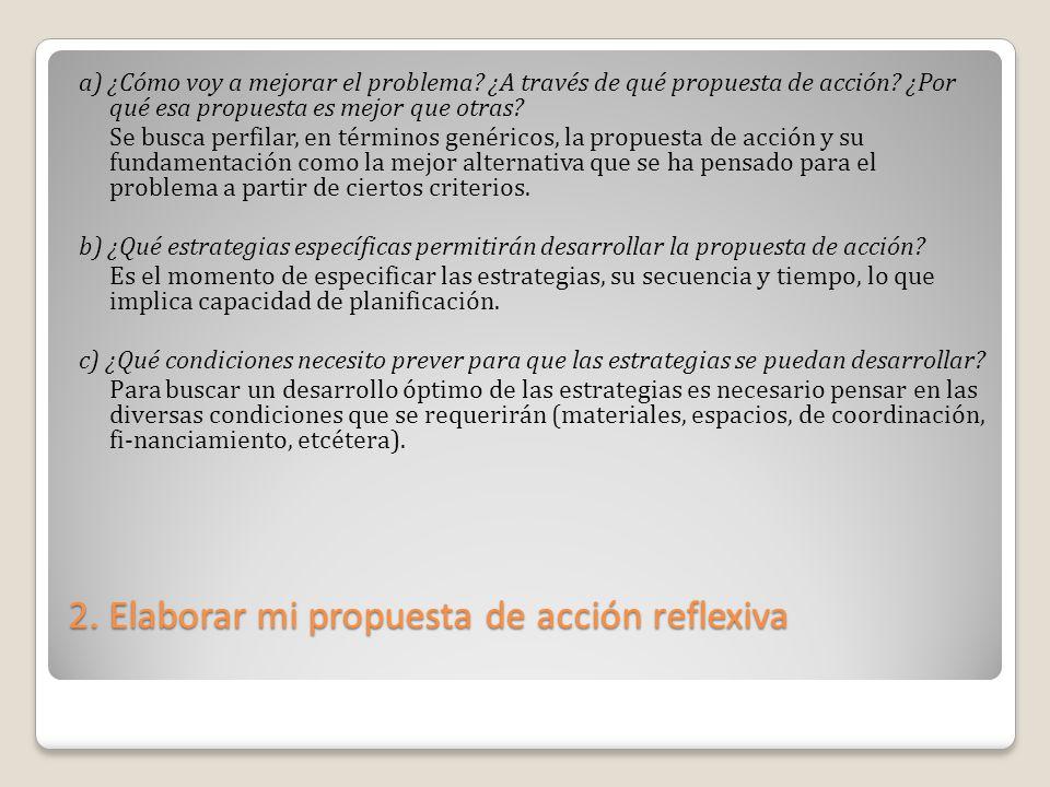2. Elaborar mi propuesta de acción reflexiva a) ¿Cómo voy a mejorar el problema? ¿A través de qué propuesta de acción? ¿Por qué esa propuesta es mejor
