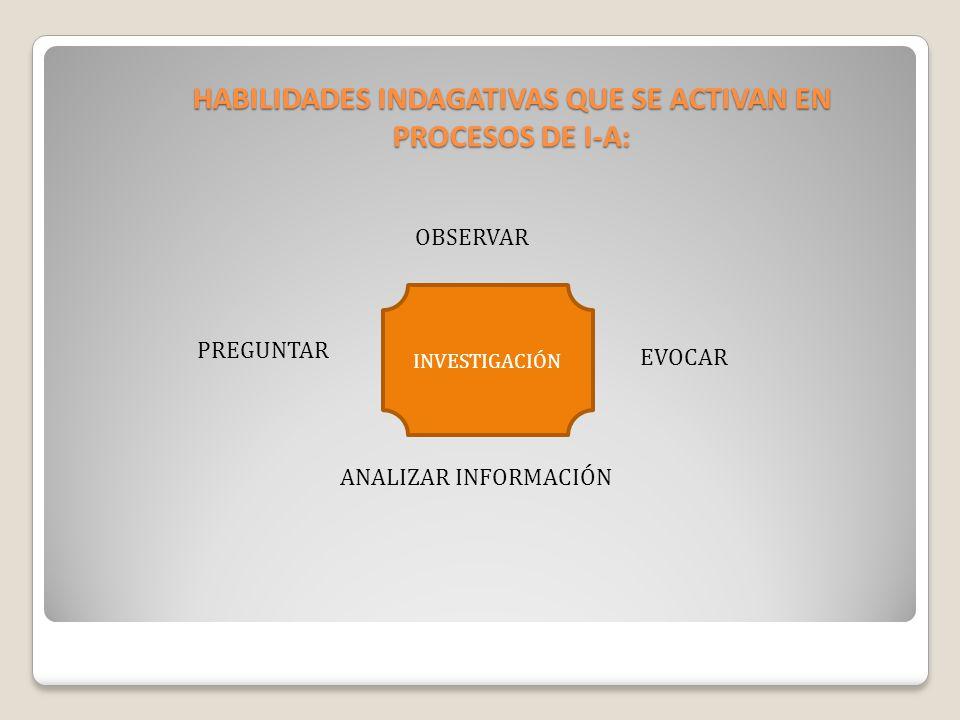 HABILIDADES INDAGATIVAS QUE SE ACTIVAN EN PROCESOS DE I-A: OBSERVAR PREGUNTAR ANALIZAR INFORMACIÓN EVOCAR INVESTIGACIÓN