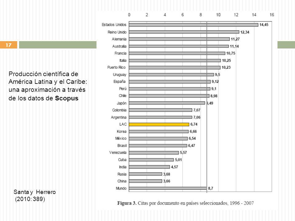 17 Santa y Herrero (2010: 389) Producción científica de América Latina y el Caribe: una aproximación a través de los datos de Scopus