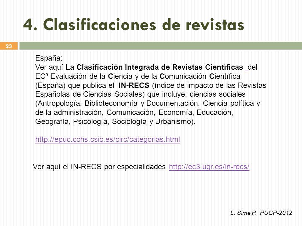 23 Ver aquí el IN-RECS por especialidades http://ec3.ugr.es/in-recs/http://ec3.ugr.es/in-recs/ España: Ver aquí La Clasificación Integrada de Revistas Científicas del EC³ Evaluación de la Ciencia y de la Comunicación Científica (España) que publica el IN-RECS (índice de impacto de las Revistas Españolas de Ciencias Sociales) que incluye: ciencias sociales (Antropología, Biblioteconomía y Documentación, Ciencia política y de la administración, Comunicación, Economía, Educación, Geografía, Psicología, Sociología y Urbanismo).