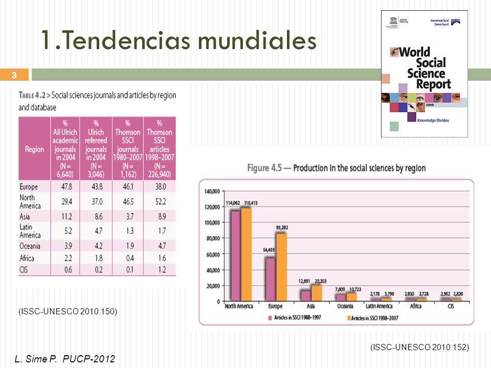 3 1.Tendencias mundiales (ISSC-UNESCO 2010:150) (ISSC-UNESCO 2010:152) L. Sime P. PUCP-2012