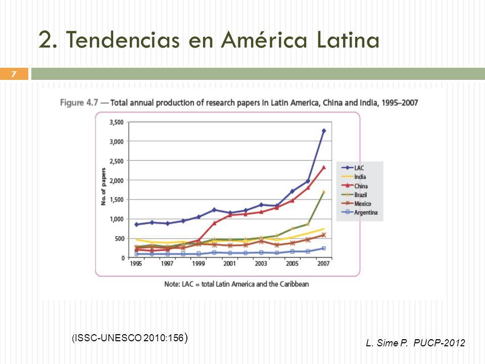 7 2. Tendencias en América Latina (ISSC-UNESCO 2010:156 ) L. Sime P. PUCP-2012