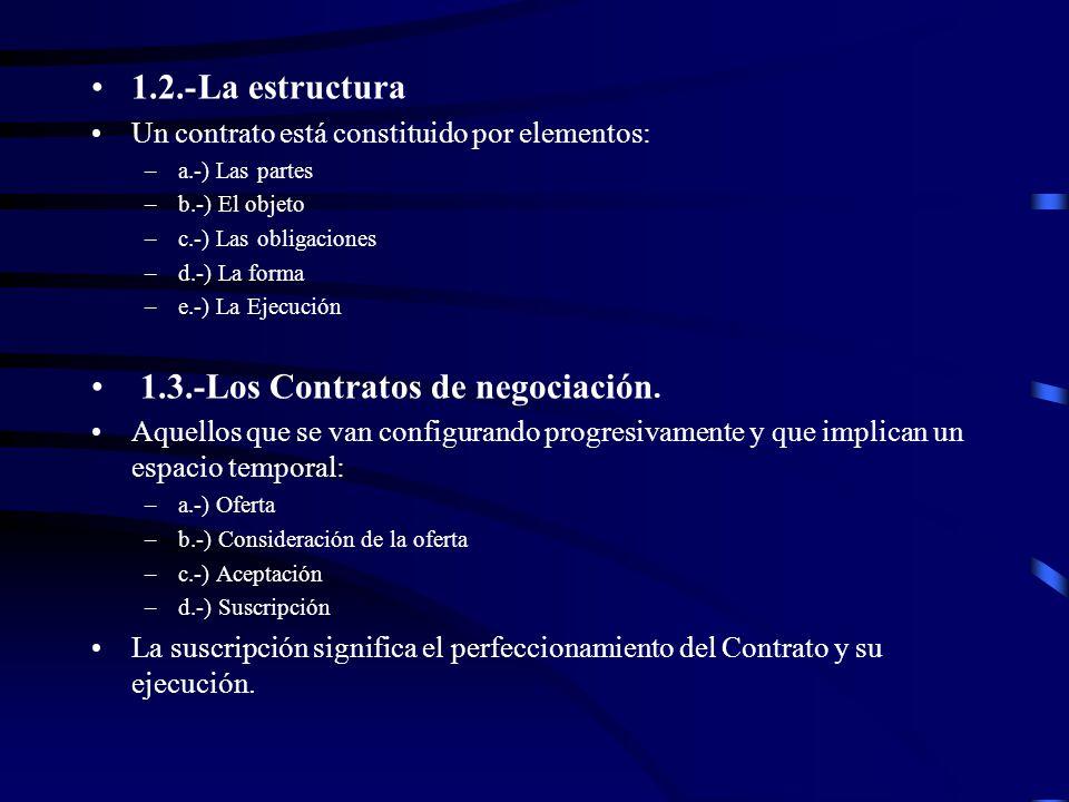 1.2.-La estructura Un contrato está constituido por elementos: –a.-) Las partes –b.-) El objeto –c.-) Las obligaciones –d.-) La forma –e.-) La Ejecuci
