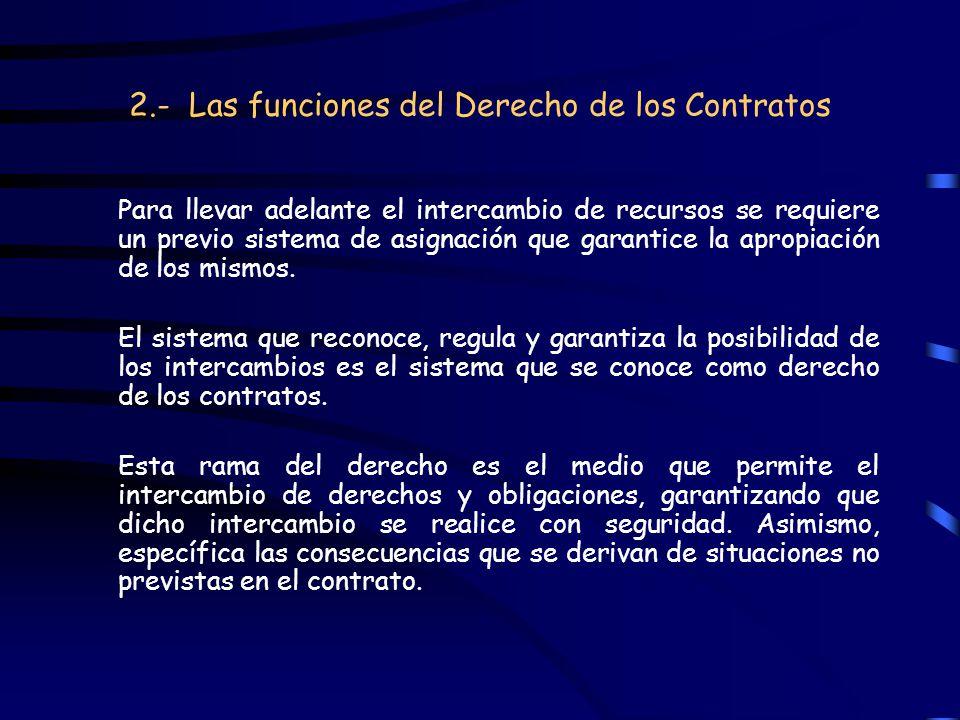 2.- Las funciones del Derecho de los Contratos Para llevar adelante el intercambio de recursos se requiere un previo sistema de asignación que garanti