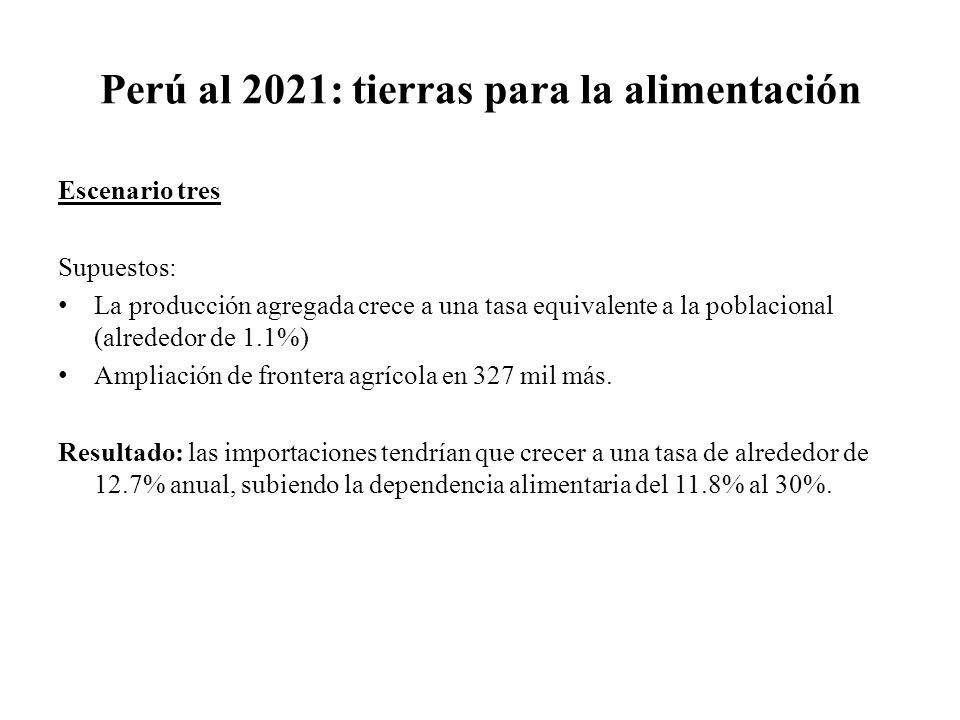 Perú al 2021: tierras para la alimentación Escenario tres Supuestos: La producción agregada crece a una tasa equivalente a la poblacional (alrededor d