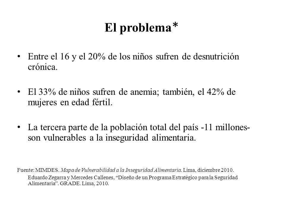 El problema * Entre el 16 y el 20% de los niños sufren de desnutrición crónica. El 33% de niños sufren de anemia; también, el 42% de mujeres en edad f