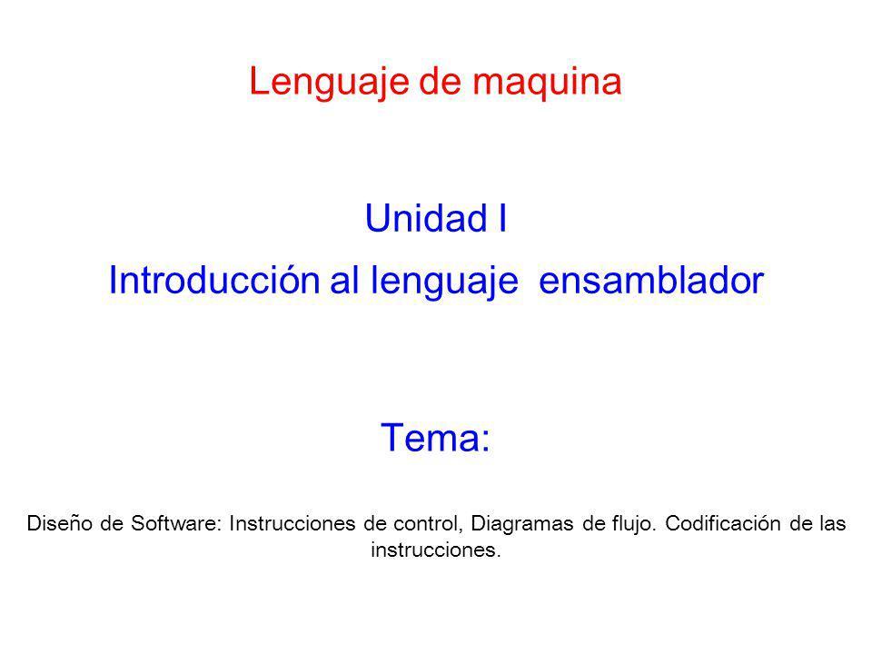 Lenguaje de maquina Unidad I Introducción al lenguaje ensamblador Diseño de Software: Instrucciones de control, Diagramas de flujo. Codificación de la