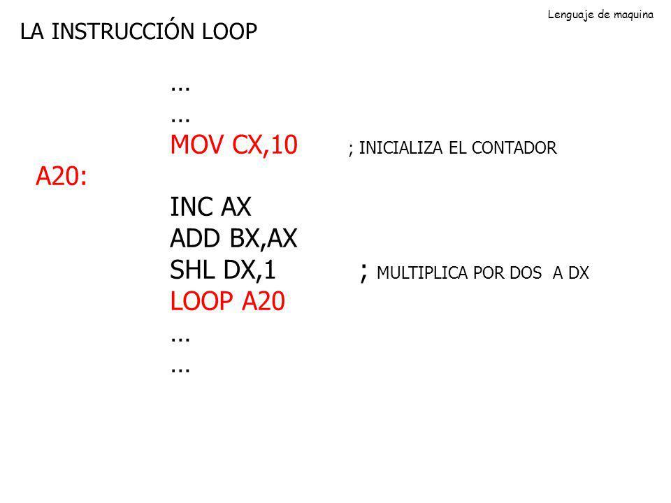 LA INSTRUCCIÓN LOOP … MOV CX,10 ; INICIALIZA EL CONTADOR A20: INC AX ADD BX,AX SHL DX,1 ; MULTIPLICA POR DOS A DX LOOP A20 … Lenguaje de maquina
