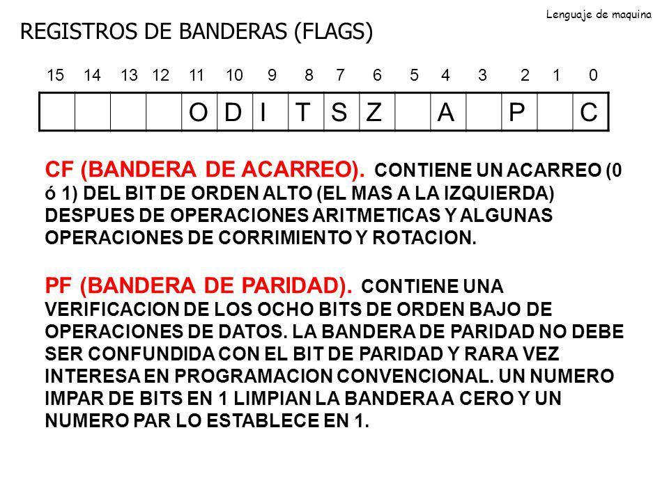 REGISTROS DE BANDERAS (FLAGS) ODITSZAPC 0123456789101112131415 CF (BANDERA DE ACARREO). CONTIENE UN ACARREO (0 ó 1) DEL BIT DE ORDEN ALTO (EL MAS A LA