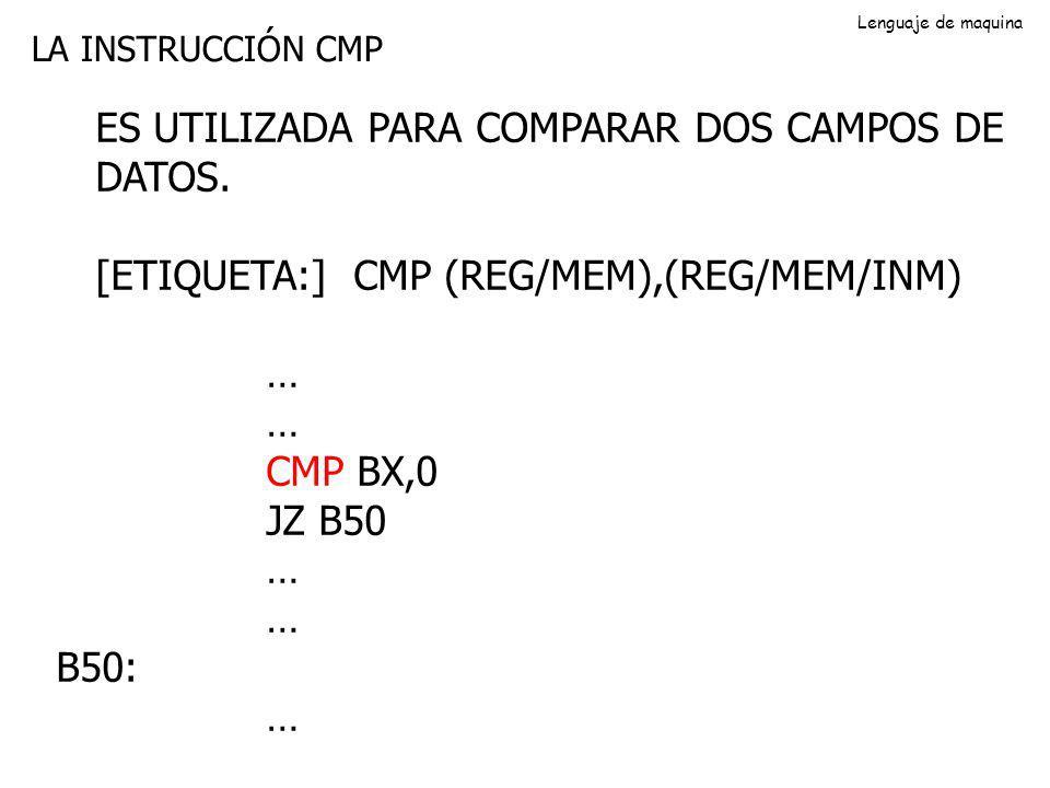 LA INSTRUCCIÓN CMP ES UTILIZADA PARA COMPARAR DOS CAMPOS DE DATOS. [ETIQUETA:] CMP (REG/MEM),(REG/MEM/INM) … CMP BX,0 JZ B50 … B50: … Lenguaje de maqu