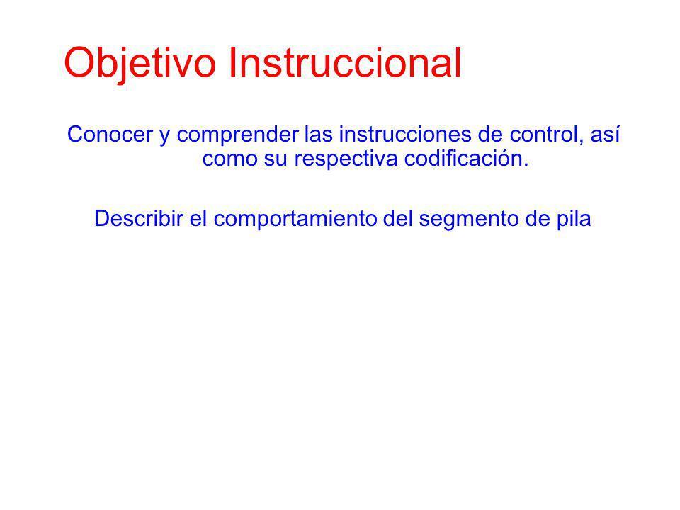 Objetivo Instruccional Conocer y comprender las instrucciones de control, así como su respectiva codificación. Describir el comportamiento del segment