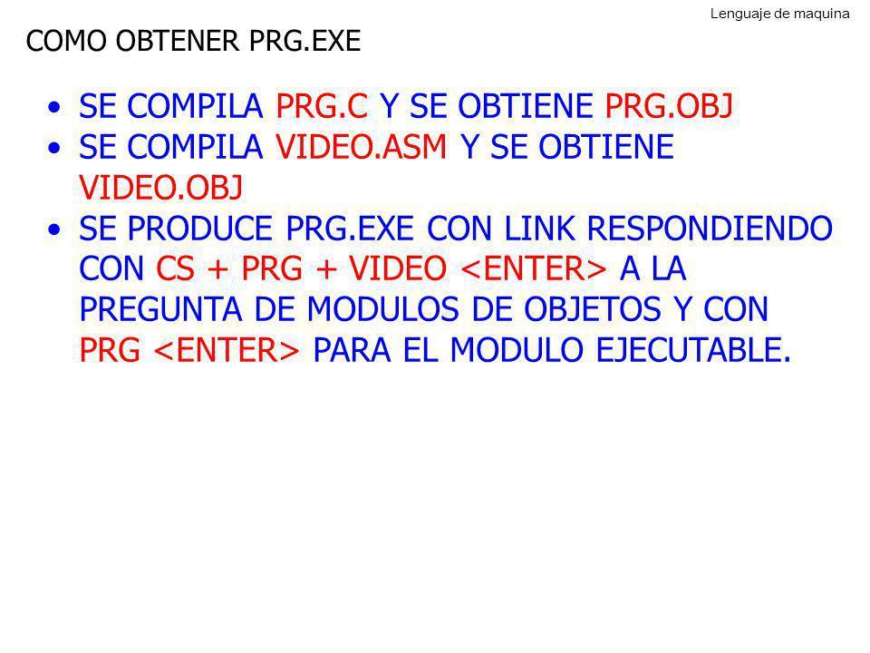 COMO OBTENER PRG.EXE SE COMPILA PRG.C Y SE OBTIENE PRG.OBJ SE COMPILA VIDEO.ASM Y SE OBTIENE VIDEO.OBJ SE PRODUCE PRG.EXE CON LINK RESPONDIENDO CON CS