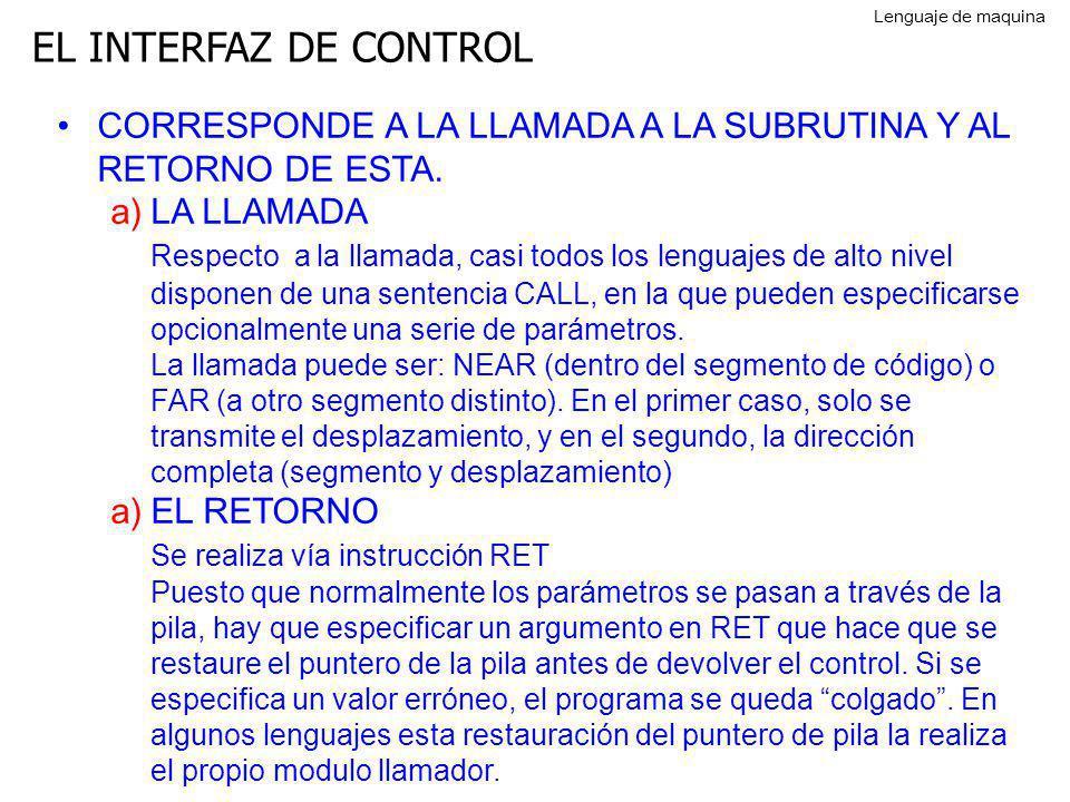 EL INTERFAZ DE CONTROL CORRESPONDE A LA LLAMADA A LA SUBRUTINA Y AL RETORNO DE ESTA. a)LA LLAMADA Respecto a la llamada, casi todos los lenguajes de a