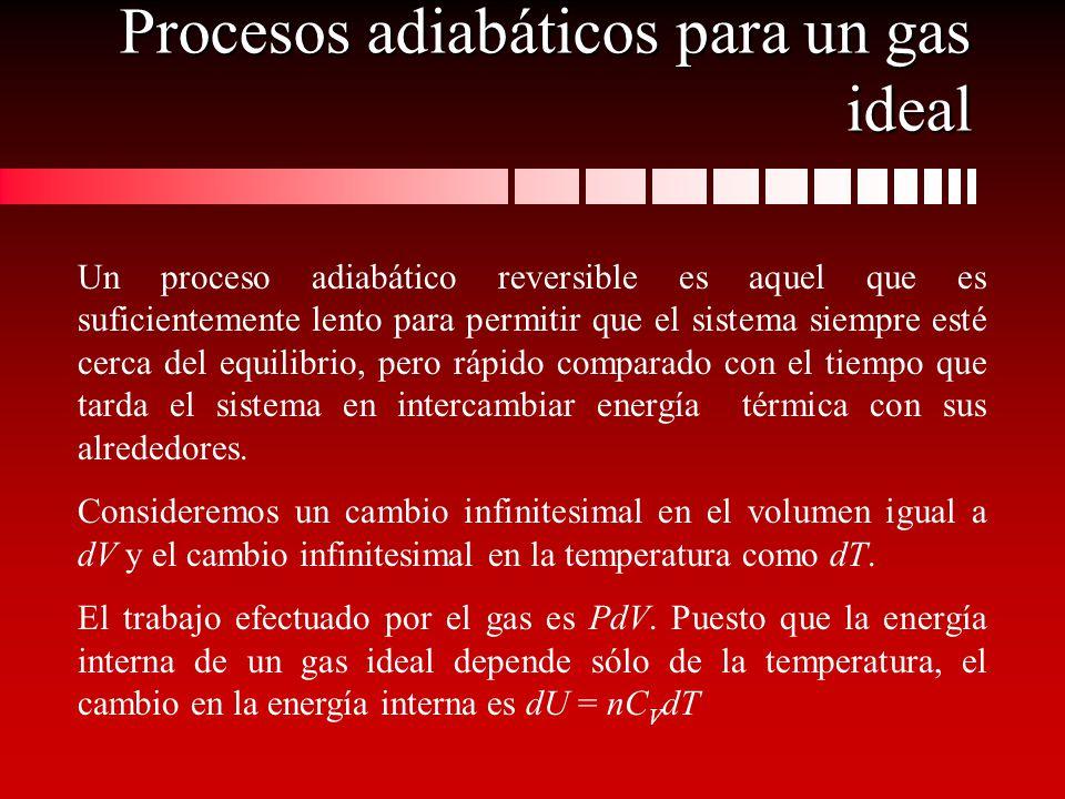 Procesos adiabáticos para un gas ideal Un proceso adiabático reversible es aquel que es suficientemente lento para permitir que el sistema siempre est