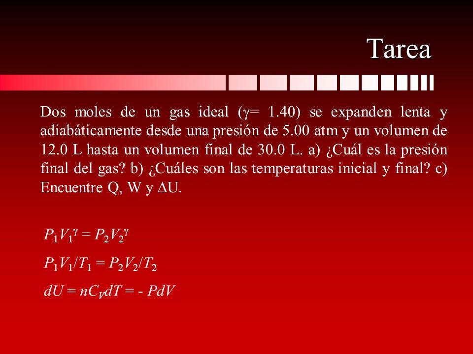 Tarea Dos moles de un gas ideal ( = 1.40) se expanden lenta y adiabáticamente desde una presión de 5.00 atm y un volumen de 12.0 L hasta un volumen fi