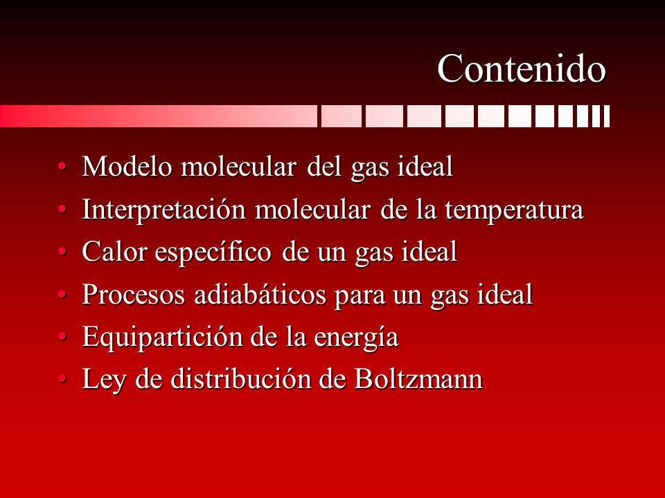 Contenido Modelo molecular del gas idealModelo molecular del gas ideal Interpretación molecular de la temperaturaInterpretación molecular de la temper