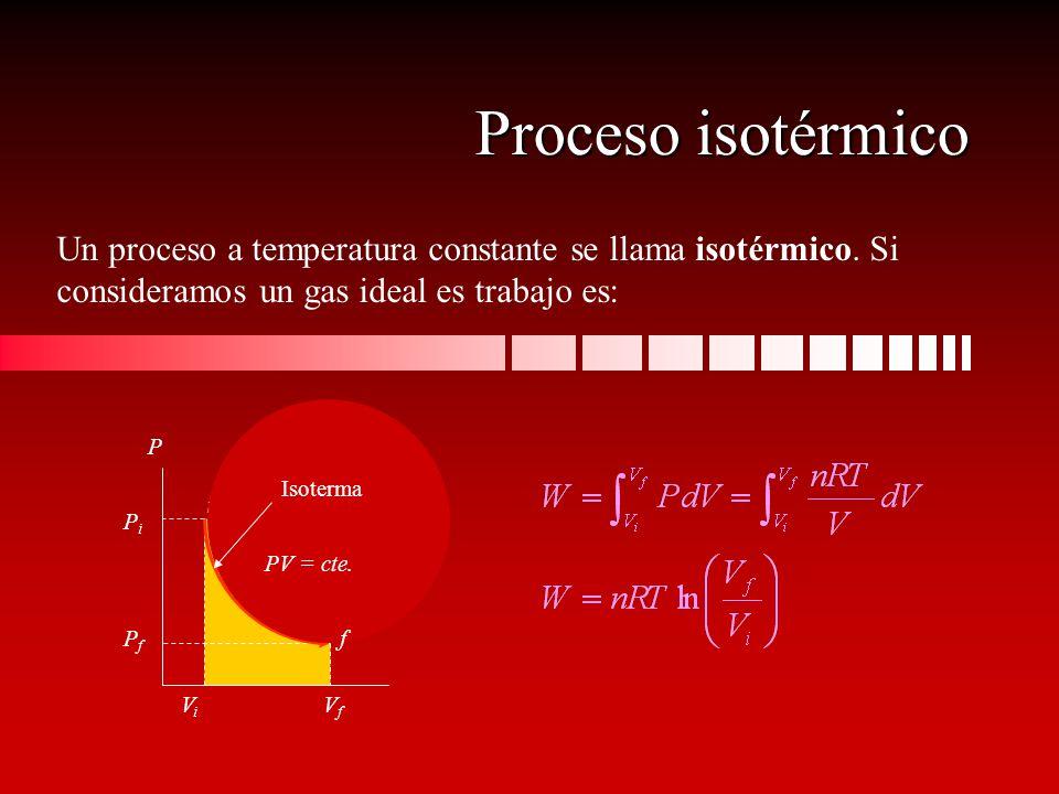 Un proceso a temperatura constante se llama isotérmico. Si consideramos un gas ideal es trabajo es: PiPi PfPf ViVi VfVf P i Proceso isotérmico f PV =