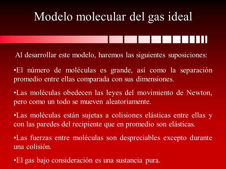 Modelo molecular del gas ideal El número de moléculas es grande, así como la separación promedio entre ellas comparada con sus dimensiones. Las molécu