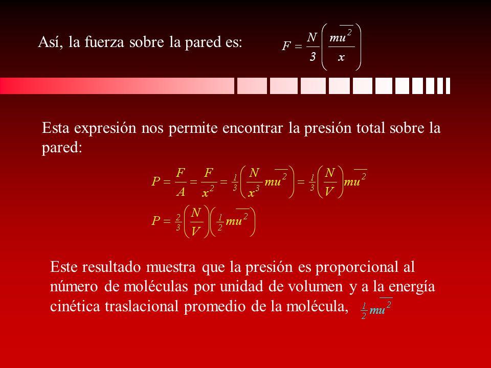 Así, la fuerza sobre la pared es: Esta expresión nos permite encontrar la presión total sobre la pared: Este resultado muestra que la presión es propo