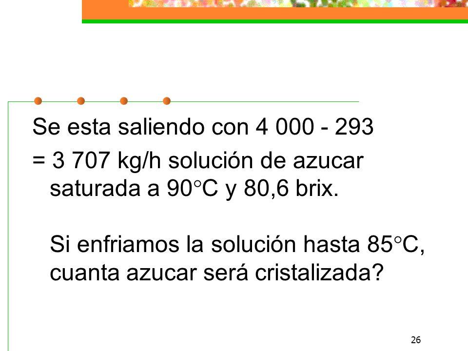 26 Se esta saliendo con 4 000 - 293 = 3 707 kg/h solución de azucar saturada a 90°C y 80,6 brix.