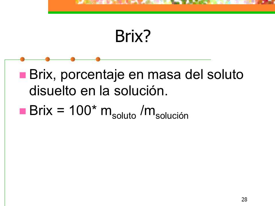 28 Brix.Brix, porcentaje en masa del soluto disuelto en la solución.