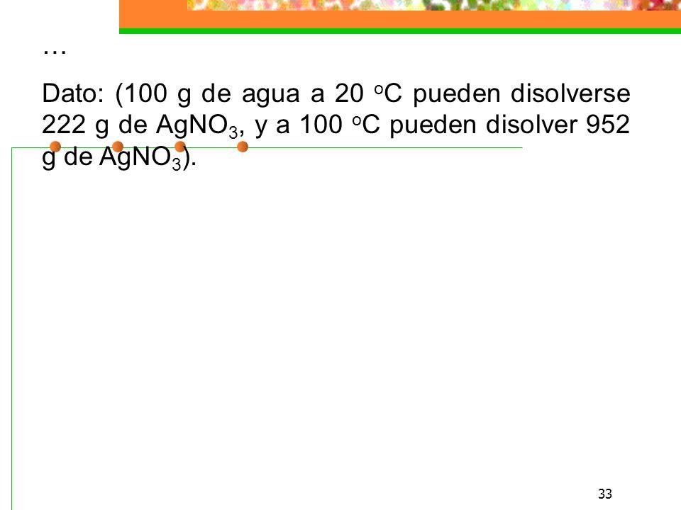 33 … Dato: (100 g de agua a 20 o C pueden disolverse 222 g de AgNO 3, y a 100 o C pueden disolver 952 g de AgNO 3 ).