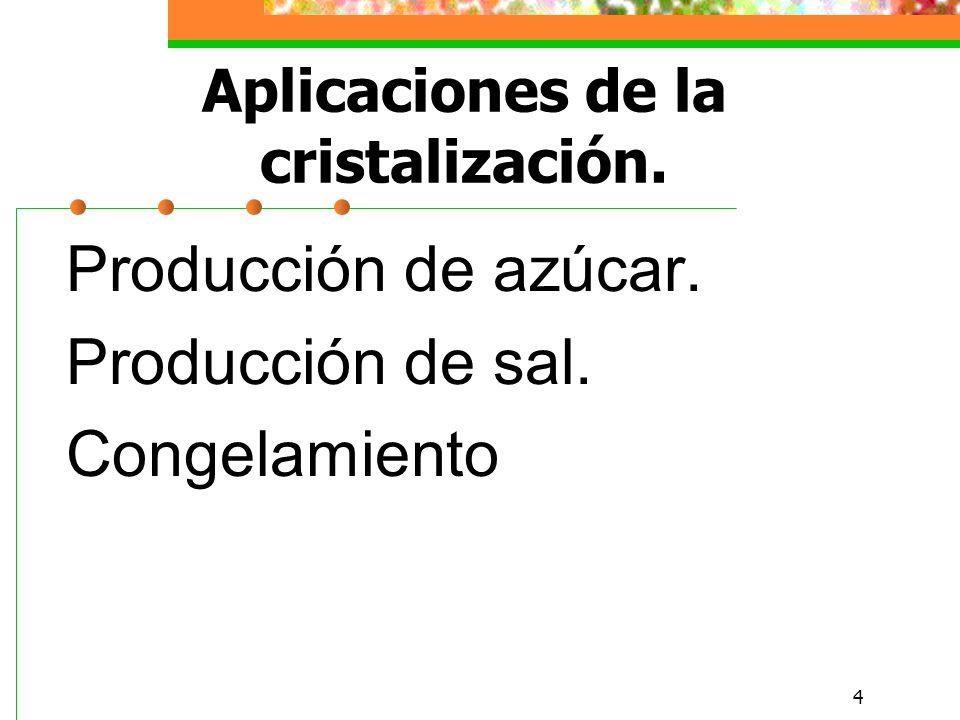 4 Aplicaciones de la cristalización. Producción de azúcar. Producción de sal. Congelamiento