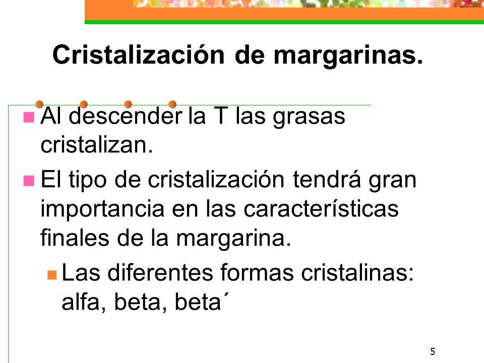 5 Cristalización de margarinas.Al descender la T las grasas cristalizan.