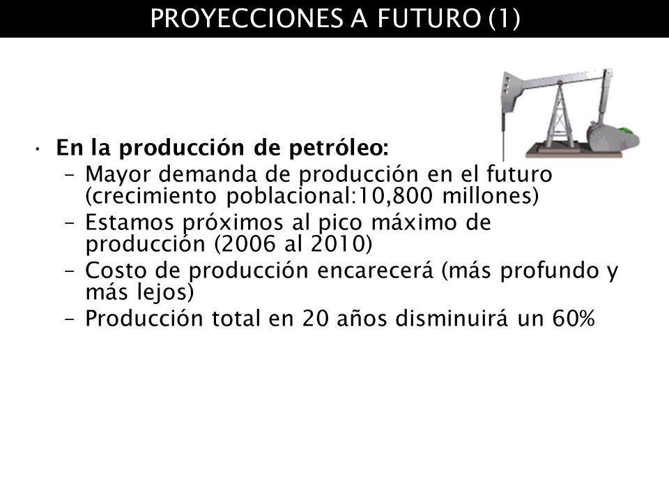 En la producción de petróleo: –Mayor demanda de producción en el futuro (crecimiento poblacional:10,800 millones) –Estamos próximos al pico máximo de