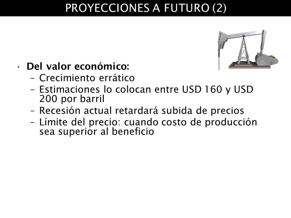 Del valor económico: –Crecimiento errático –Estimaciones lo colocan entre USD 160 y USD 200 por barril –Recesión actual retardará subida de precios –L