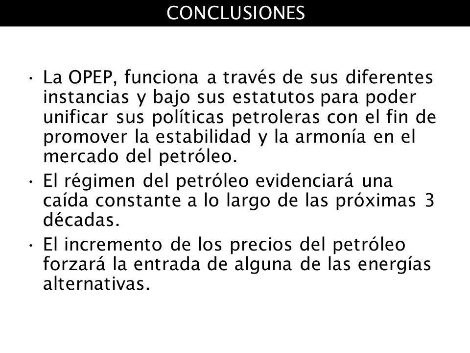 La OPEP, funciona a través de sus diferentes instancias y bajo sus estatutos para poder unificar sus políticas petroleras con el fin de promover la es