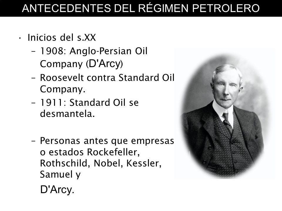 Inicios del s.XX –1908: Anglo-Persian Oil Company ( D'Arcy ) –Roosevelt contra Standard Oil Company. –1911: Standard Oil se desmantela. –Personas ante