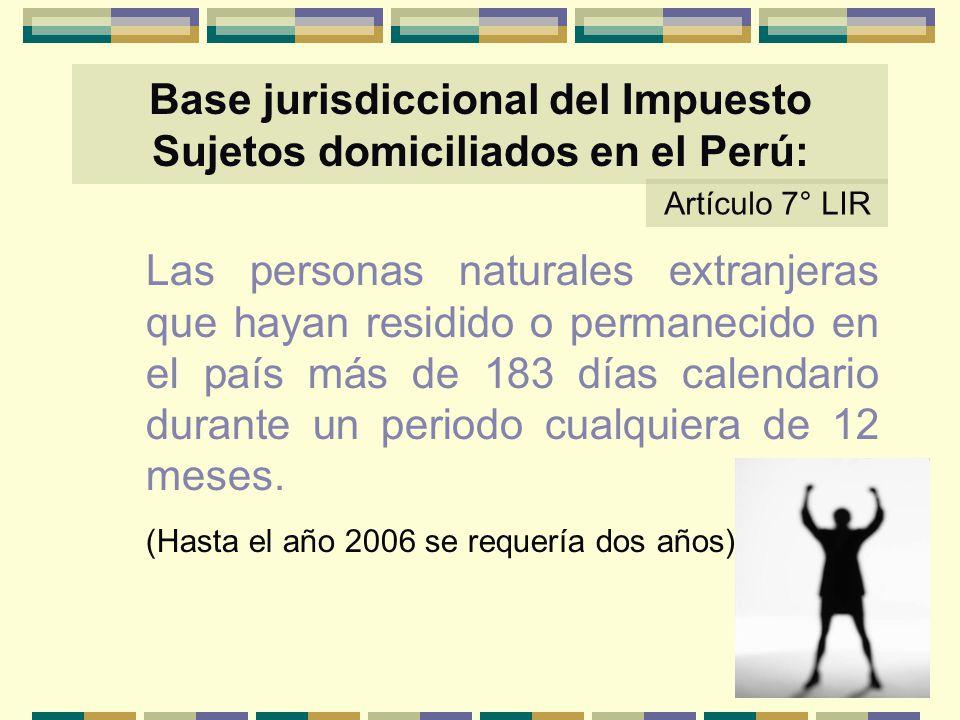 Base jurisdiccional del Impuesto Sujetos domiciliados en el Perú: Las personas naturales extranjeras que hayan residido o permanecido en el país más d