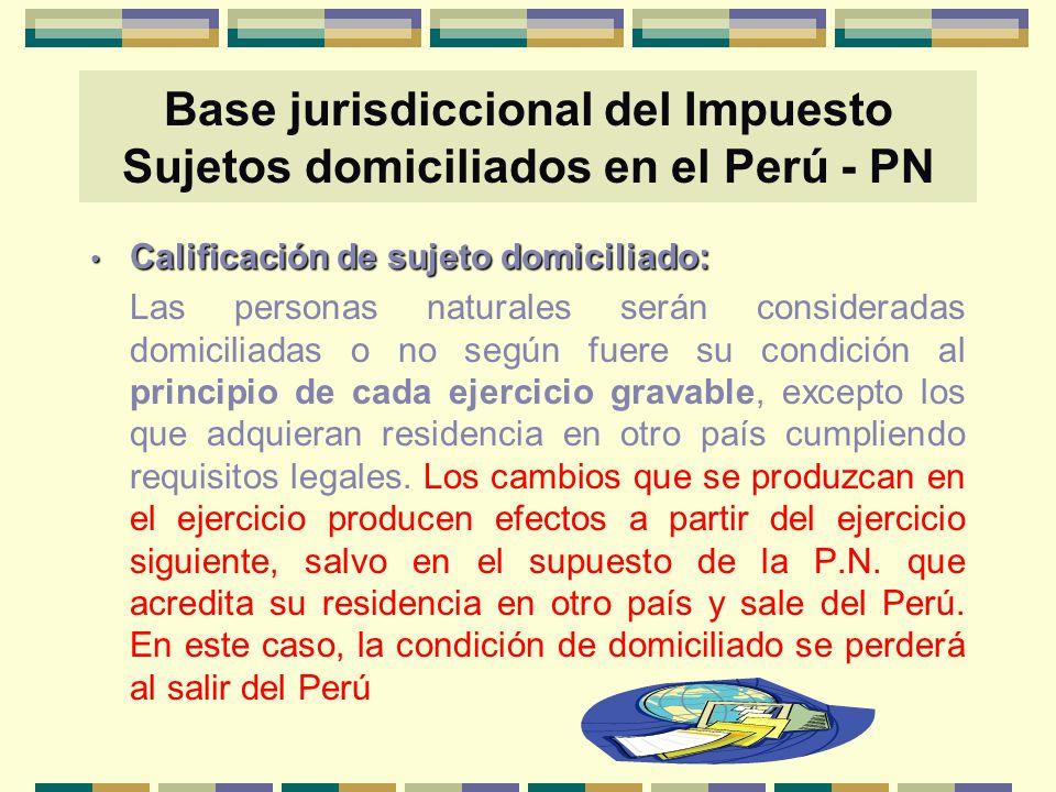 Base jurisdiccional del Impuesto Sujetos domiciliados en el Perú - PN Calificación de sujeto domiciliado: Calificación de sujeto domiciliado: Las pers