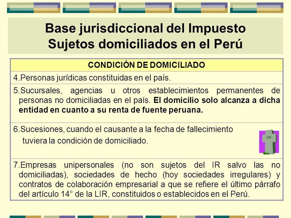 CONDICIÓN DE DOMICILIADO 4.Personas jurídicas constituidas en el país. 5.Sucursales, agencias u otros establecimientos permanentes de personas no domi