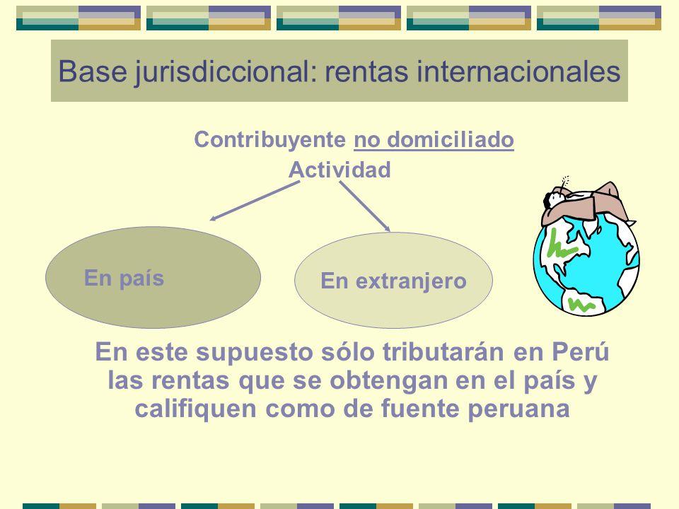 Base jurisdiccional: rentas internacionales Contribuyente no domiciliado Actividad En este supuesto sólo tributarán en Perú las rentas que se obtengan